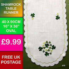 New Embroidered Shamrock Table Runner Ireland Irish Dining Kitchen Celtic S70