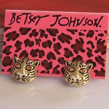NEW Betsey Johnson Beautiful Crystal Cartoon Tiger Head Alloy Earring BJEA001