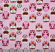 Cute Owl Pink Cotton Quilt Fabric
