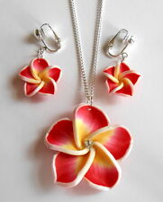 GORGEOUS RED & YELLOW FLOWER NECKLACE & CLIP ON EARRING SET (or hooks)