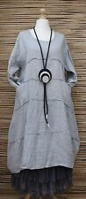 LAGENLOOK BEAUTIFUL LINEN BALLOON A-LINE DRESS/TUNIC***GREY***BUST UP TO 50""