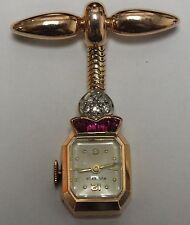 Vintage Ladies Diamond Bucherer Pin Watch in 18K Rose Plat