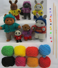 KNITTING KIT: Sylvanian Families clothes 'Playing' pattern+needles+yarns+buttons