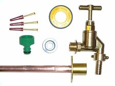 Outside Tap Kit With Heavy Duty Tap, Through Wall Flange and Garden Hose Fitting