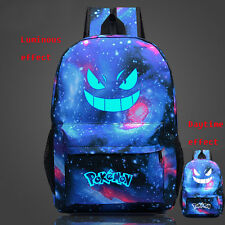 New Pokemon Gengar Face Casual luminous Galaxy Backpack School Bag Sack