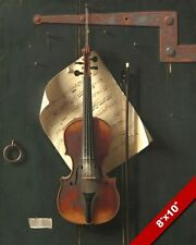 OLD VIOLIN W BOW & SHEET MUSIC PAINTING REAL CANVAS GICLEE 8X10 ART PRINT