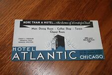 VINTAGE Advertising  Ink Blotter Card  Hotel Atlantic, Chicago   rooms $2.50