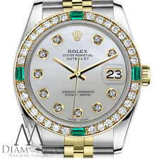 Rolex 36mm Datejust 2Tone White MOP Mother Of Pearl Dial with Emerald Diamond