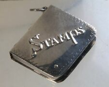 "Vintage 1 5/16"" x 1 1/8"" Sterling Silver Etched Book Stamp Holder Case Pendant"
