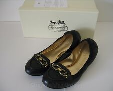 NIB Auth Coach Denise Big CC Logo Ballet Flats Sz 6.5 Black Birthday Gift