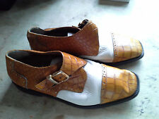 Marco Vicci Size 4 Mens Dress Shoe / Oxford Leather with Side Buckle