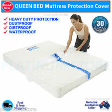 4 x Queen Bed Plastic Mattress Protector Moving & Storage Bag Dust Cover