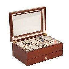 B-grade Mele 10 Reloj Madera de Nogal & Co Acabado Caja de almacenamiento caso de exhibición 1476