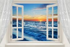 WINDOW POSTER sunset over the ocean PICTURESQUE colorful SPIRITUAL 24X36