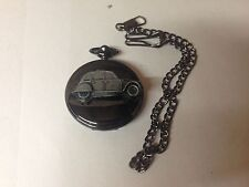 Citroen 2CV ref37 Pewter Effect Car on a polished Black Case Pocket Watch
