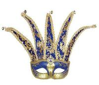 Blue & Gold Court Jester Eye Mask Eyemask Masquerade Regal Fancy Dress