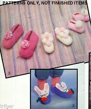 Knitting Crochet PATTERNS Family Slippers Pig Puppy Rabbit Bear Baseball Cat