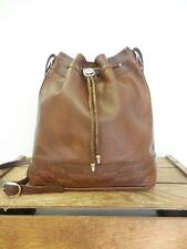 VINTAGE Distressed Brown Leather Bucket Hobo Bag Drawstring Shoulder Purse AS IS