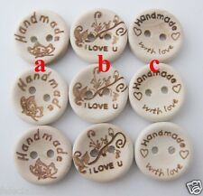 15MM Nature wood sewing buttons for baby 45pcs mix 3 pattern Handmade Scrapbook