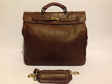 VINTAGE MULHOLLAND BROTHERS USA WEEKENDER DUFFEL TRAVEL SOFT PEBBLED LEATHER BAG
