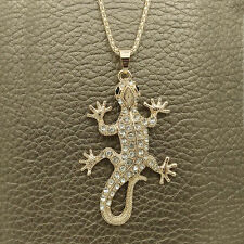 Fashion Golden House lizard Crystal Sweater chain Charm necklace Pendants DL637
