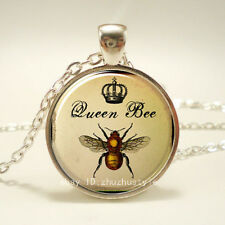 Queen Bee Crown Cabochon Glass Tibet Silver Chain Pendant Necklace HZ#111