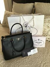 PRADA SAFFIANO DOUBLE ZIP LUX NERO BLACK BN2274 TOTE BAG