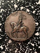 French Equestrian Medal 'V. Janvier' Lot#9800 ~51mm Huge Silvered Bronze Piece!
