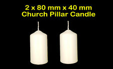 White Cream Round Pillar Church Candle Unscented Non Drip Classic 40 x 80mm (x2)