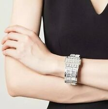 ALEXANDER MCQUEEN SILVER PLATED CRYSTAL BOW CUFF BRACELET GIFT BOXED