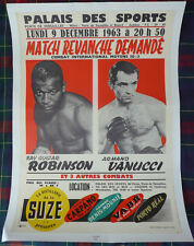 1963 SUGAR RAY ROBINSON v VANUCCI II scarce on-site boxing poster from Paris