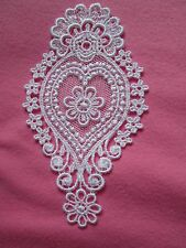 1 Unusual Delicately Embroidered On Net White Heart Shape Medallion Applique