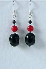 EARRINGS Modernist Style BLACK ONYX Red CORAL 925 STERLING SILVER Hand Made