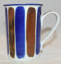 Dansk Internationl Hand Painted White Blue Brown Coffee Tea Mug Cup Vintage Rare