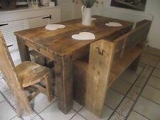 UK HANDMADE BESPOKE RUSTIC RECLAIMED VINTAGE  DINING/KITCHEN TABLE CHAIRS/BENCH