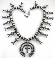 Huge Navajo Heavy Sterling Silver Bench Made Bead Squash Blossom Naja Necklace J