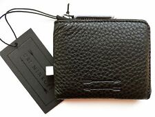 URI MINKOFF Black Leather Zipped WALLET Notes Cards COINS NEW Tags