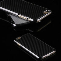 Black/Siver Case For Smart phone Carbon Fiber Chromed Hard Back Case Cover