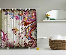 Colorful Paisley Pattern Graphic Shower Curtain Blue Raspberry Bright Bath Decor