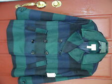 St John's Bay Ladies Double Breasted Jacket sizeXL Green/Navy Plaid 31 in length