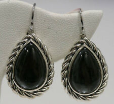 DAVID YURMAN NEW Silver Cabled Teardrop Hematine with Crystal Overlay Earrings