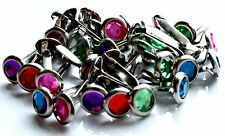 Woodware 6mm Round Rhinestone Gem Brads - Assorted Colours - Split Pin - 32 pcs