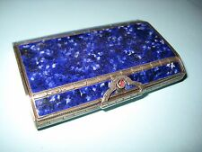 ANTIQUE CONTINENTAL SOLID SILVER 800 MARK BLUE ENAMEL CASE BOX 1920s