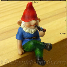 New Vivid Arts - Miniature World- Miniature Garden Gnome sitting with pipe - 4cm