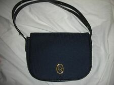 VINTAGE CHRISTIAN DIOR BLUE MONOGRAM SHOULDER BAG WITH LEATGER STRAP