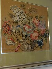 Antique Needlepoint Framed Flower Tapestry Textile Art Garden Roses