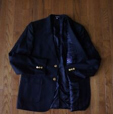 18 BROOKS BROTHERS Boys Fleece Black Super 120s ITALY ING LORO PIANA Gold Blazer