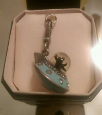 Rare Juicy Couture YORKIE Ufo flying saucer alien invasion Charm. Silver, blue