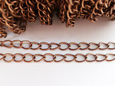2m x Iron Twist Chain 6mm x 3mm Red Copper Nickel & Lead Free, Findings, Chains