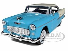1955 CHEVROLET BEL AIR BLUE WITH SILVER 1:24 DIECAST MODEL CAR BY MOTORMAX 73229